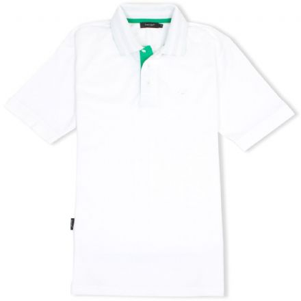 Senlak Striped Under Collar Polo Shirt - White